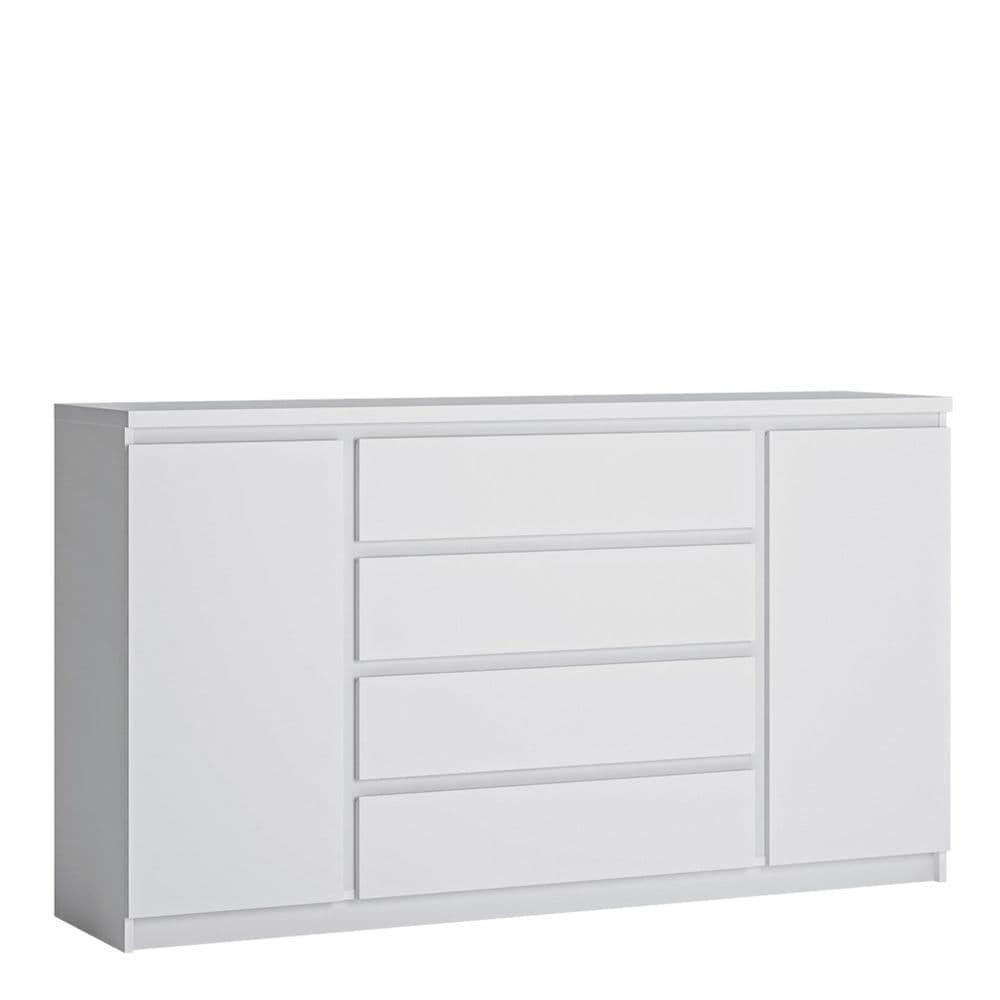 Newark White Newark 2 door 4 drawer wide sideboard in White in Alpine White